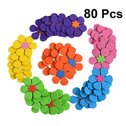 SUPVOX 80 Stücke Schaum Aufkleber Selbstklebende Schaum Blume Abziehbilder für Kindergarten Kinder DIY Kunstprojekt Hand Handwerk Hochzeit Room Decor