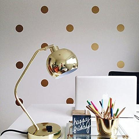 Sticker Mural Autocollants Gold Polka Dots Removable Peel Stick Metallic