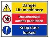 vsafety 65008bf-s Lift Maschinen/unerlaubtem Zugriff/KEEP Tür Gesperrt Achtung Maschinen Schild, selbstklebend, Landschaft, 400mm x 300mm, schwarz/blau/rot/gelb