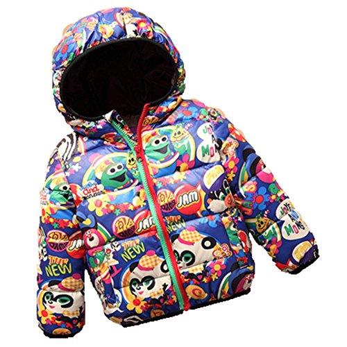 Ohmais Unisex Jungen Mädchen Winter Down Jacket verdickte Winterjacke Jungen Mantel verdickte Trenchcoat Jungen Outerwear mit Kapuzen Blau
