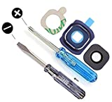 Blue Camera Glass Lens Cover for Samsung Galaxy S6 G920 Series Chrome Full Set 3 pieces incl. Rubber Gasket and 3M adhesive Pad MMOBIEL