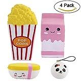 4 PCS Jumbo Squishies Popcorn-Schale / rosafarbene Milch-Kasten-Karikatur / Nahrung Reis / Minipandacharme Langsame steigende Squishies parf�mierte Spielwaren Kawaii Squishy Bild