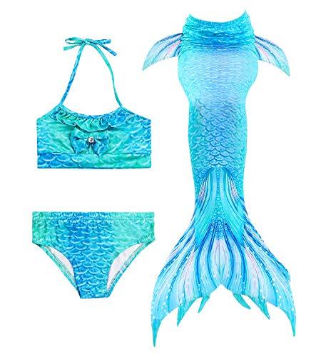 HiFunBay mädchen Meerjungfrau Schwanz Kinder Schwimmen Kostüm Enthalten 3 STÜCKE Bikini Badeanzug - Frühjahrs Kostüm