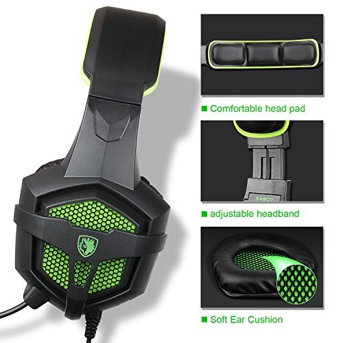 Sades sa-807Gaming Headset Gaming Kopfhörer mit Mikrofon für PS4/Xbox 360/PC/Laptop/Handy Schwarz Grün