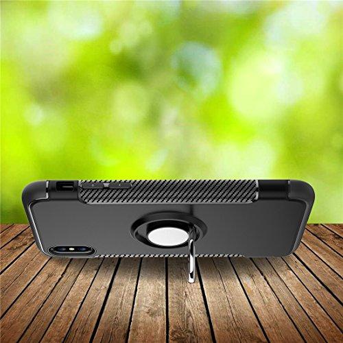 Custodia iPhone X / 10, REXANG[Con 360 ° Kickstand] Cover di Protezione Rotativa [Supporto Magnetico per Auto] Resilient Assorbimento Antiurto Case per iPhone X (iPhone X, Blu) Grigio