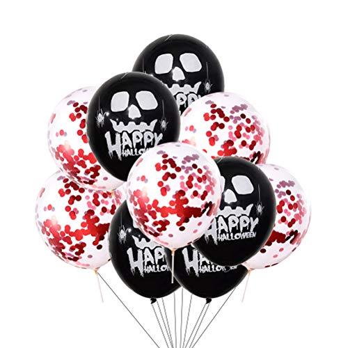 Amosfun 10 stücke Halloween Party Ballons Scary Schädel Latex Ballons Rote Konfetti Luftballons für Halloween Party Ghost Festival Bar Hauptdekorationen