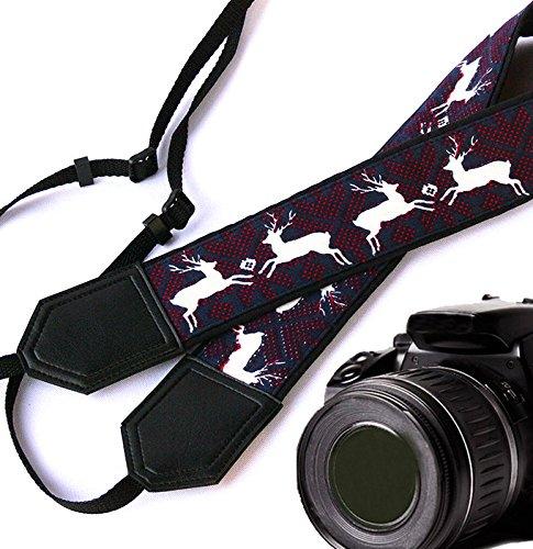 Bianco Cervo Cinghia per Fotocamera. Nero cinghia per fotocamera DSLR/SLR. accessori per la fotocamera. X-MAS (Mens Nero Cervo)
