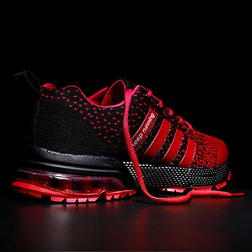 Wealsex Coussin Daria Chaussures De Course Sur Asphalte Montagne Sports De Plein Air Courir Chaussures De Course Pour Homme Femme Noir Et Rouge