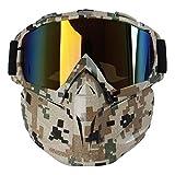 Kobwa - maschera per moto con occhiali, antinebbia, antivento, casco a viso aperto per motocross, sci, equitazione, sport all'aperto, Camouflage