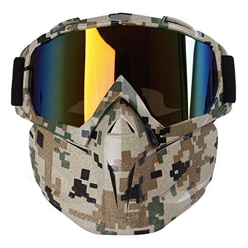 Máscara con gafas resistente al viento multifunción Aolvo para motocicleta/airsoft/CS/paintball/esquí/moto de nieve/equitación/bicicleta para niños y adultos, camouflage