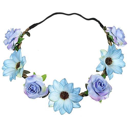 Blumen Stirnbänder, TTWOMEN Damen Boho Headwrap Twist Knoten Haarband Beach Party Turban Haar Zubehör (Blau) -
