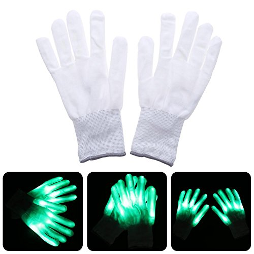 Amazingdeal365 begeisterte glänzen Handschuhe LED-Beleuchtung Finger für Halloween Party (Kostüme Spiderman Erwachsene Handschuhe)