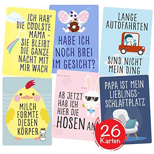 Lustige Baby Fotokarten für Jungen und Mädchen von Cozy Racoon - Set aus 26 Meilenstein-Karten - Tolles Geschenk zur Geburt, Babyparty, Schwangerschaft