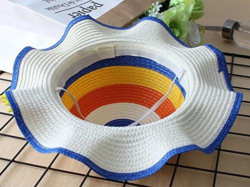 Leisial Cappello di paglia per bambini Cappello estivo Cappello da spiaggia  Cappello da sole Cappello del fiore di Sun Cappello arcobaleno d81a256ea2c3