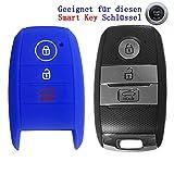 RotSale® 1x Blau Schlüsselhülle Schlüsselhülle KIA Smart Key 3 Tasten Autoschlüssel Silikon Schutzhülle Tasche Gehäuse Etui Fernbedingung Funkschlüssel