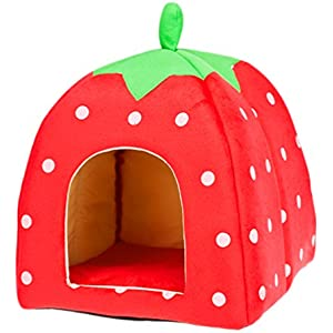 Dosige Erdbeeremuster Warm Pet Nest Schöne Pet Hunde Katze Bett Kennel Bett Matte Hundebett (rote)