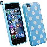 Emartbuy® Apple iPhone SE Polka Dots Gel Haut Kasten Abdeckung Blau / Weiß
