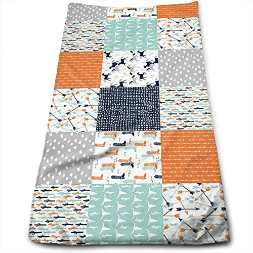 ERCGY Western Cheater Quilt Nursery Baby Face Hand Towels Microfiber Sport Towels for Sports, Hair Care, Cosmetology, Cleaning, Furniture Makeup Removing Cloths Fast Drying 27.5 X 12 Inch. Western Quilt