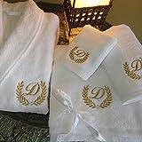 5* Hotel Edición Blanco Juego Albornoz, Toallas de Baño con dorado/plata personalizado, algodón felpa, Embroidery Gold, Bathrobe L