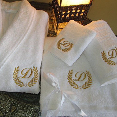 5* Hotel Edition White Set Bathrobe, Bath Towels with Gold/Silver  Personalised (Embroidery Gold, Bathrobe S)