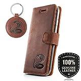 Graphit Kobra - Premium Vintage Ledertasche Schutzhülle Wallet Case aus Echtesleder Nubukleder Farbe Nussbraun für Samsung Galaxy S4 Mini