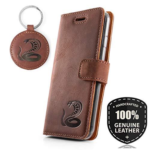 SURAZO Graphit Kobra - Premium Vintage Ledertasche Schutzhülle Wallet Case aus Echtesleder Nubukleder Farbe Nussbraun für Lenovo/Motorola Moto G5 Plus (5,20 Zoll)