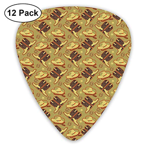 Guitar Picks - Abstract Art Colorful Designs,Vintage Hat Boots Horse Shoes Retro Western Culture Worn Backdrop,Unique Guitar Gift,For Bass Electric & Acoustic Guitars-12 Pack - Classic High Camo Boot