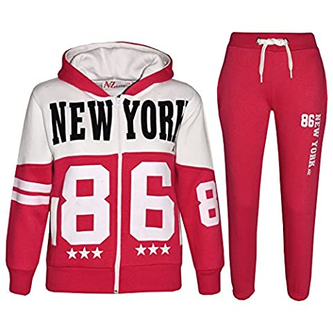 A2Z 4 Kids Kinder Trainingsanzug Jungen Mädchen Designer New York 86 Aufdruck Kapuzenpulli & Hosen Jogginganzug 7 8 9 10 11 12 13 Jahre - Rosa,
