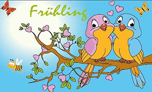 Fanshop Lünen Fahne - Flagge - Frühling - Vogel - (Garten, Blumen, Biene,Vögel) - 90x150 cm - Hissfahne mit Ösen - Sommer - -