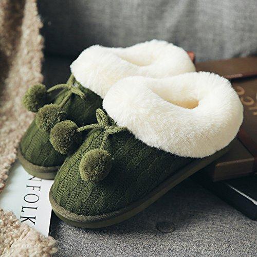 Zapatillas Doghaccd, En Invierno Las Zapatillas De Algodón Sala De Mujer De Espesor Grueso Paquete Antideslizante Cálido Con Lindos Amantes Zapatillas De Cachemira De Felpa El Verde Militar
