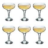 Rink Trinken Vintage Glas Champagner Untertasse - 200ml - Packung mit 6 Champagne Coupe Brille