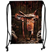 TRAzz Drawstring Backpacks Bags,Western,American West Traditional Authentic Style Rodeo Cowboy Saddle Wood