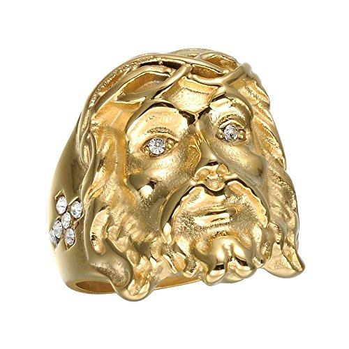 BOBIJOO Jewelry - Ring, Siegelring, Kopf Jesu Strass Kreuz Gold Ende Stahl Strass Christus - 21 (11 US), Vergoldet - Edelstahl 316 (Männer Gold Ringe Jesus)