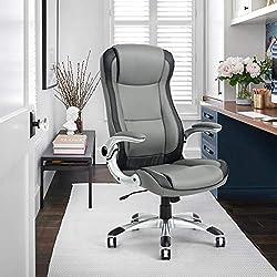 House in a box Casa en una Caja Silla de Oficina Dirección ejecutiva Brazo Ajustable Cuero Sintético Plástico Gris Negro Plata