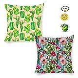 BorisMotley Confezione da 2Acquerello Creative Cactus Piante grasse in Cotone Lino Decorativo Quadrato Cuscino Throw Pillow Case Home Sofa Decor, 18 x 18