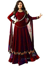 Maroon Colored Banglory Silk Suit With Heavy Embroideried Work With Dupatta