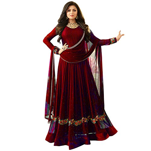 FKART Women's Latest Designer, Party Wear, Traditional, Embroidered Maroon Color (Semi-Stitched_Free Size)...