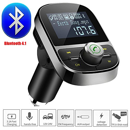 Bluetooth FM Transmitter ,Colorful(TM) KFZ Auto Radio Adapter freisprecheinrichtung Car Kit integriertem mit Mikrofon, USB Ladegerät ,1,4'' Display, 3,5mm AUX-Eingang ,TF Karte Slot für iPhone, andere IOS / Android Smartphones usw ,Schwarz