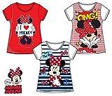 Pack de 3 Camisetas Diferentes Modelos Diseño Minnie Mouse (Disney) Tallas 3,4,6 y 8 Años (100% Algodon) (8 Años)
