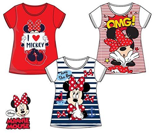 Suncity Pack de 3 Camisetas Diferentes Modelos Diseño Minnie Mouse (Disney) Tallas 3,4,6 y 8 Años (100% Algodon)