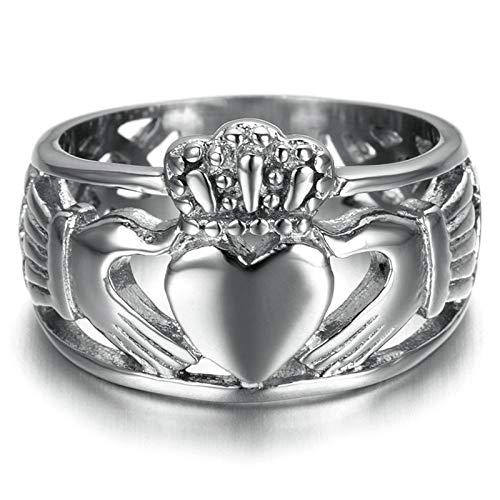 Beydodo Gothic Ring Edelstahl für Männer Claddagh Herz Krone Partnerringe Punk Herren Ring Silber Größe 65 (20.7) (Ringe Claddagh Für Männer)
