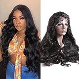 Volvetwig Perruque Brésilienne Naturelle Raide 13x4 Lace Front Wig Cheveux Humain Vierge Remy Vrai 100% Swiss Lace Glueless non Transformé 16 pouce
