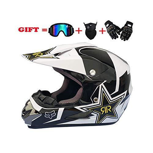 CNKSKXK-helmet Erwachsenen Motocross Helm MX Motorrad Helm ATV Roller ATV Helm DOT Zertifizierung Rockstar Männer und Frauen Integralhelm,A2,XL