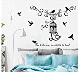 Jaula de pájaros Dormitorio Oficina Sala de estar Fondo Extraíble autoadhesivo Puerta de la ventana Pegatinas de pared Calcomanías Decoración Arte Mural