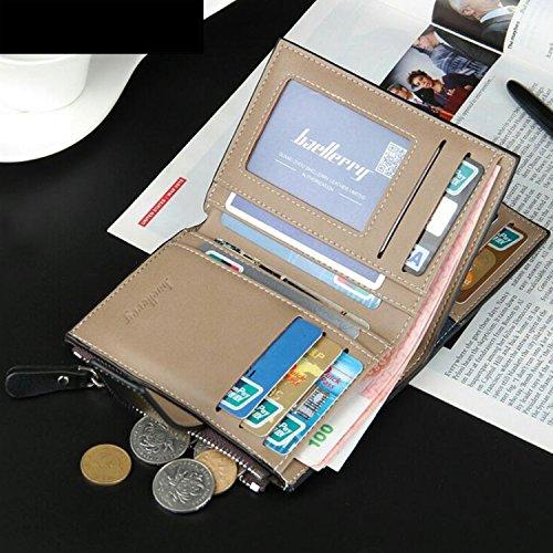 Young & Ming - Hochwertiges Herren-Geldbörsen Leder Männer Brieftasche Schnalle Design mit 13 Card Slots 2 Foto Fenster und 1 zusätzliche Reißverschlusstasche Kaffee