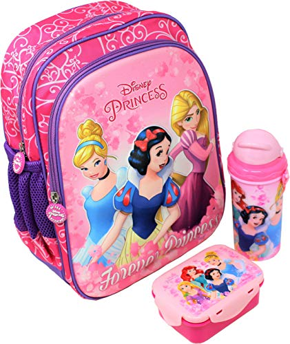 H M International Kid's EVA Polyester Fabric Embossed 3D Disney Junior 12-Inch Backpack with Lunch Box and Water Sipper Bottle