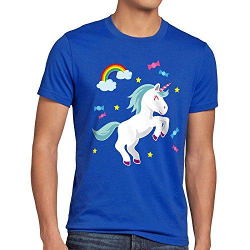 style3 Unicorn Candy Einhorn Herren T-Shirt Regenbogen Süßwaren Blau