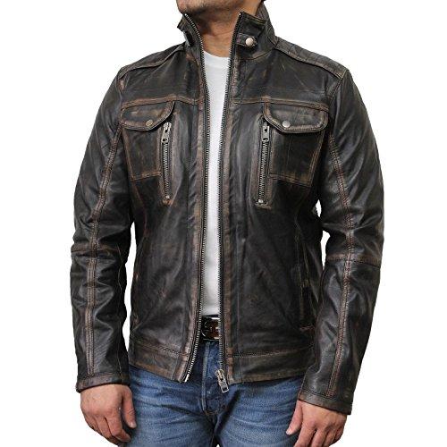 Brandslock homme blouson veste motard en cuir d'origine cru noir Medium