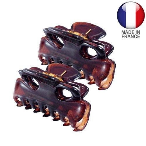 Accessoires à cheveux, pinces – 2 pinces à cheveux françaises, 3 cm, couleur tortue, lot de 2 pièces