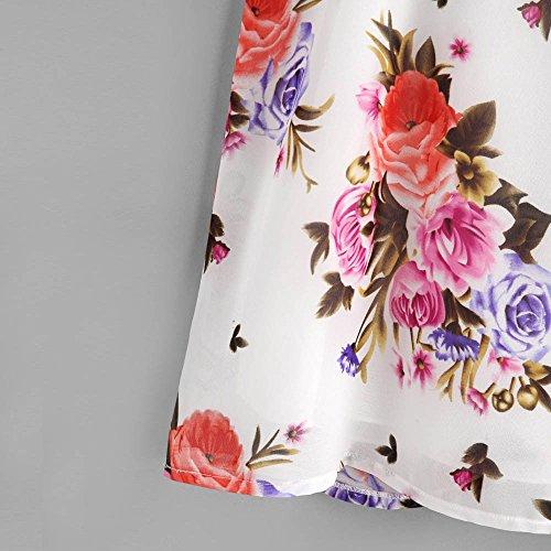 Longra Donna V-collare irregolare stampa floreale cotone chiffon superiore Multicolore